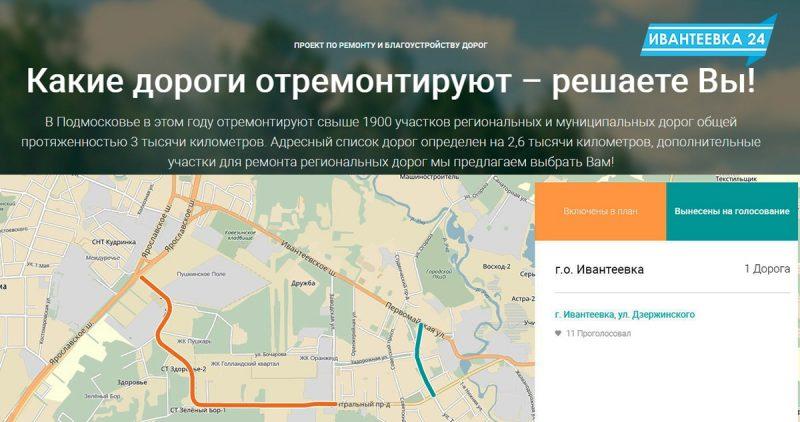 голосование за ремонт дорог Ивантеевки