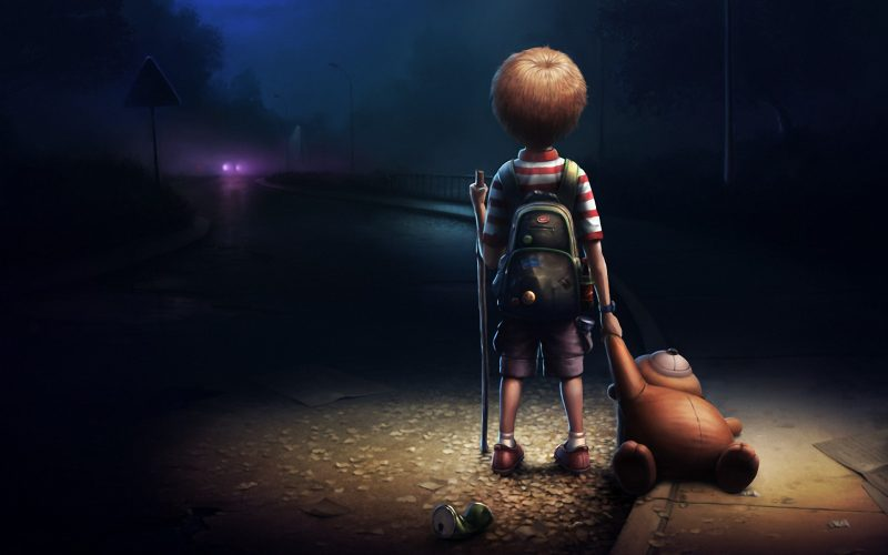 Ребенок ночью улица