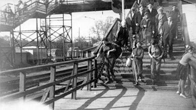 Мост на станции Пушкино до обрушения
